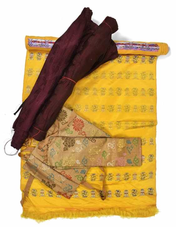 Group of silk textiles, including roll goods - photo 1