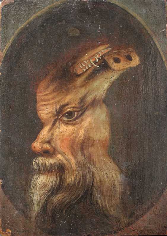 Trompe l'oeil of a double portrait of a bearded man and if turned around it appears a white boar - photo 1