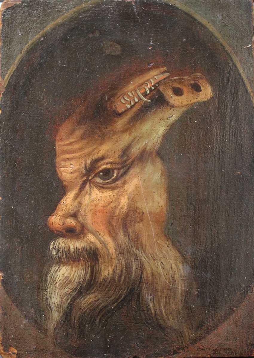 Trompe l'oeil d'un double portrait d'un homme barbu et si se retourna, il apparaît un sanglier blanc - photo 1