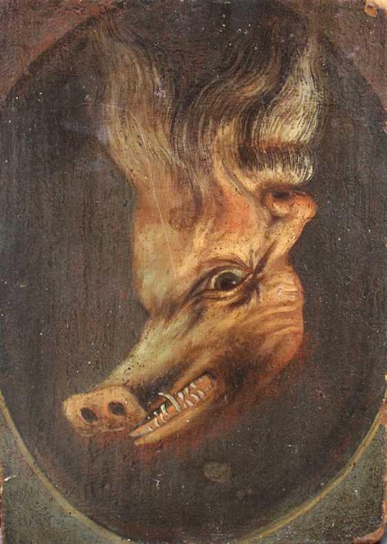 Trompe l'oeil d'un double portrait d'un homme barbu et si se retourna, il apparaît un sanglier blanc - photo 2