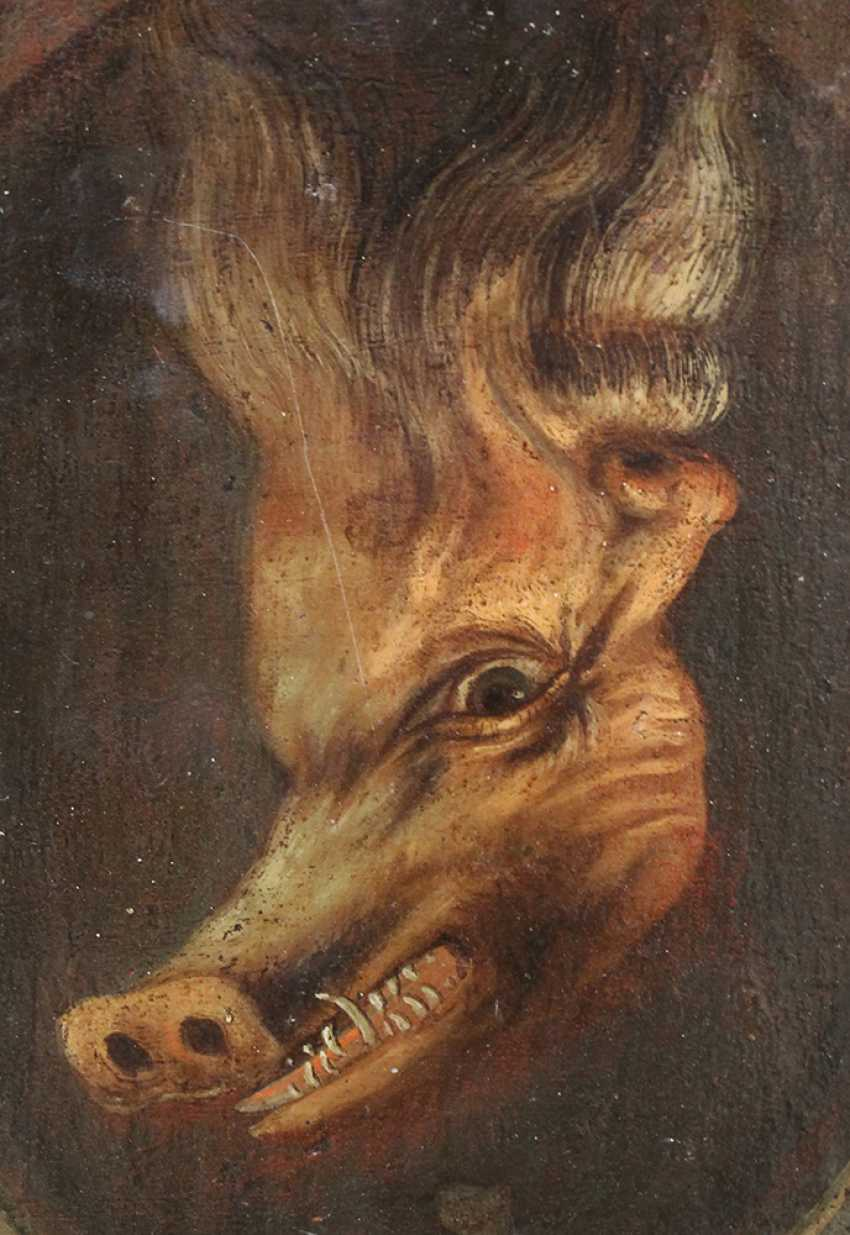 Trompe l'oeil of a double portrait of a bearded man and if turned around it appears a white boar - photo 3