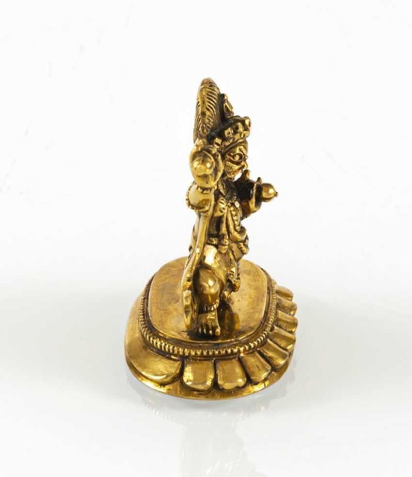 Fire miniature bronze of Vajrapani gilded on a Lotus pedestal - photo 5