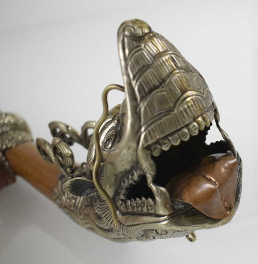 Copper trumpet with fittings in the Form of a dragon head - photo 2