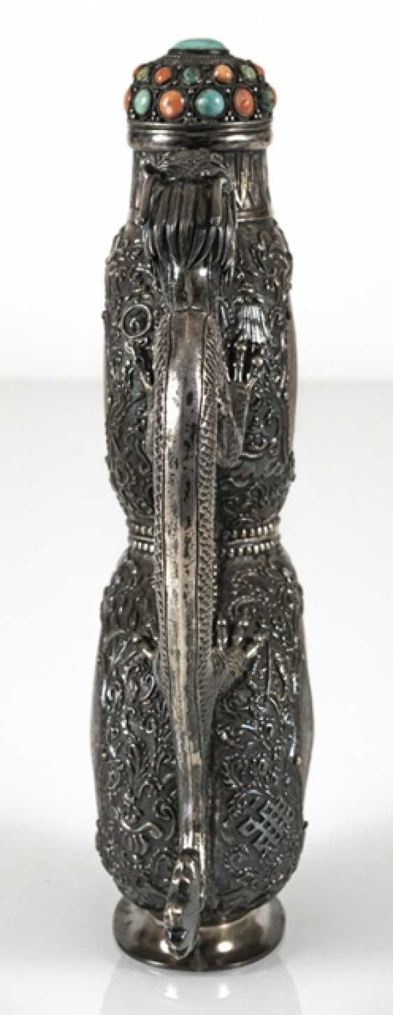 Jug made of silver with burled wood Panels and stone trim - photo 3