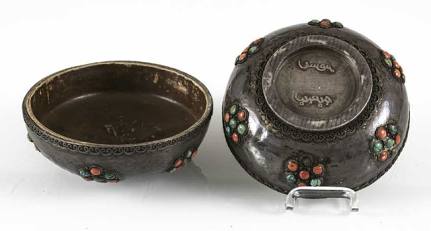 Lidded box made of silver and wood with coral and turquoise trim - photo 6
