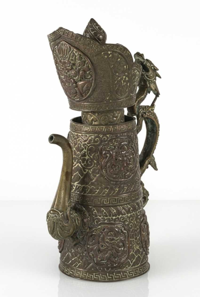 Driven by the jug is made of brass and copper with dragon lid - photo 2