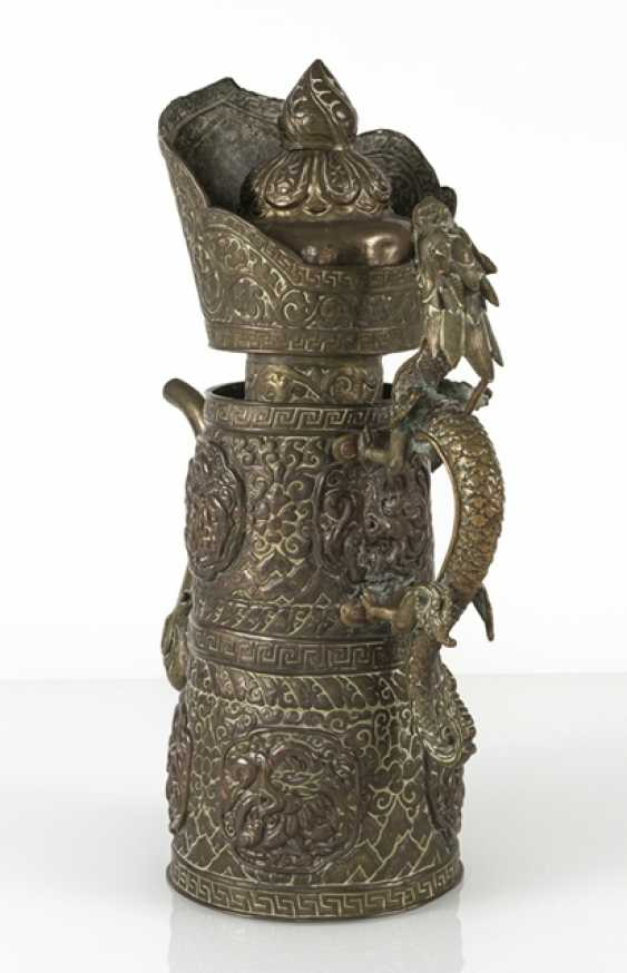 Driven by the jug is made of brass and copper with dragon lid - photo 3