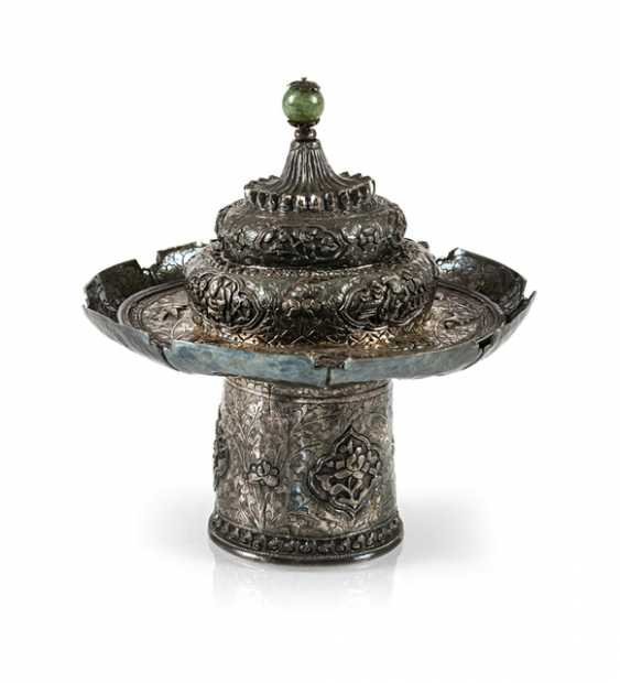 Cup stand and lid made of silver with animals and Buddhist emblems - photo 1