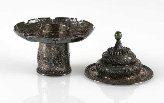 Cup stand and lid made of silver with animals and Buddhist emblems - photo 2