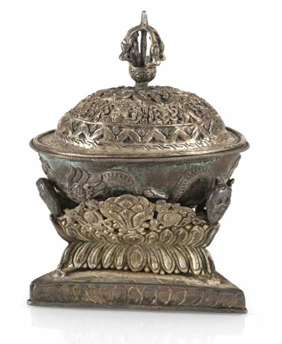 Silver-plated Kapala with Stand and lid - photo 1