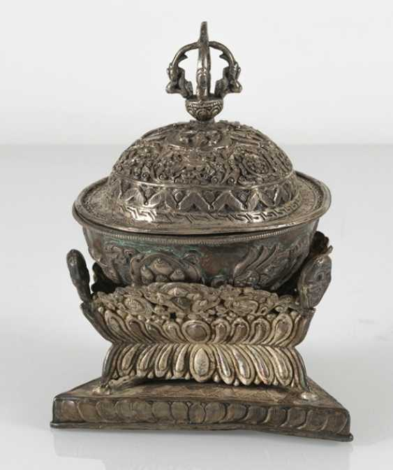 Silver-plated Kapala with Stand and lid - photo 3