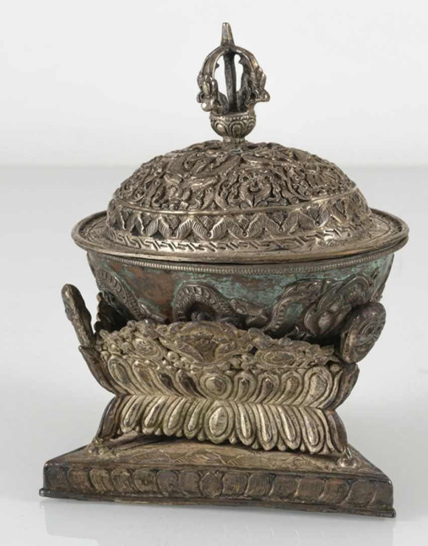 Silver-plated Kapala with Stand and lid - photo 4