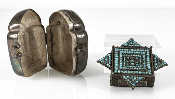 Gau made of silver and the lid of an amulet box with turquoise trim - photo 4
