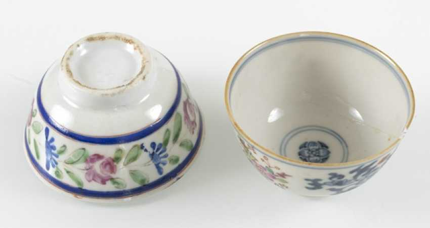 Two porcelain tea cups, four tea bowls-stands and lids of silver - photo 3