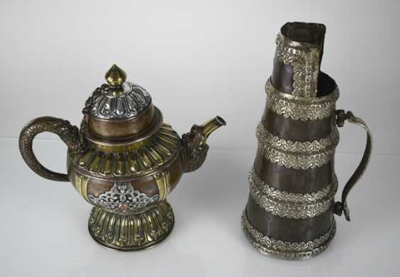 Two pots made of copper, a brass and white metal inlays - photo 2