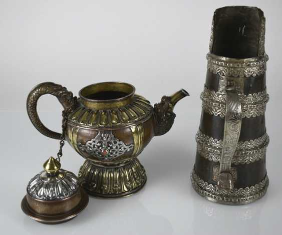 Two pots made of copper, a brass and white metal inlays - photo 3