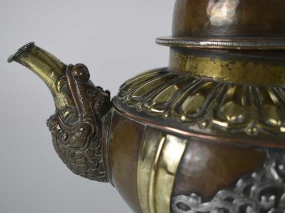 Two pots made of copper, a brass and white metal inlays - photo 4