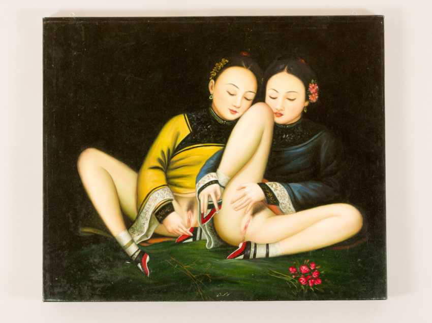 Chinese school, Erotica, two girls in traditional dresses - photo 2