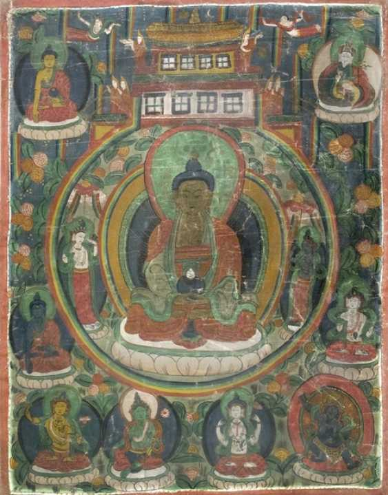Thangka with depiction of the Buddha Amitabha in his Palace - photo 1