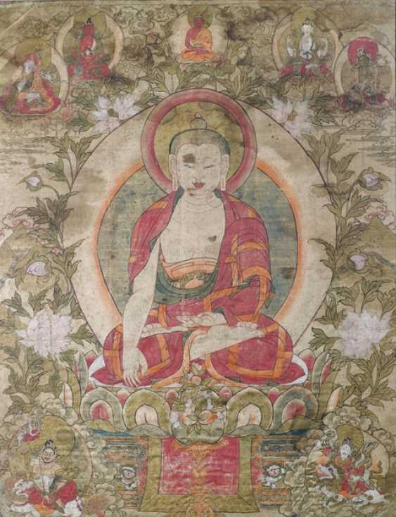 Gautama Buddha, Shakyamuni, colored block print on silk - photo 1