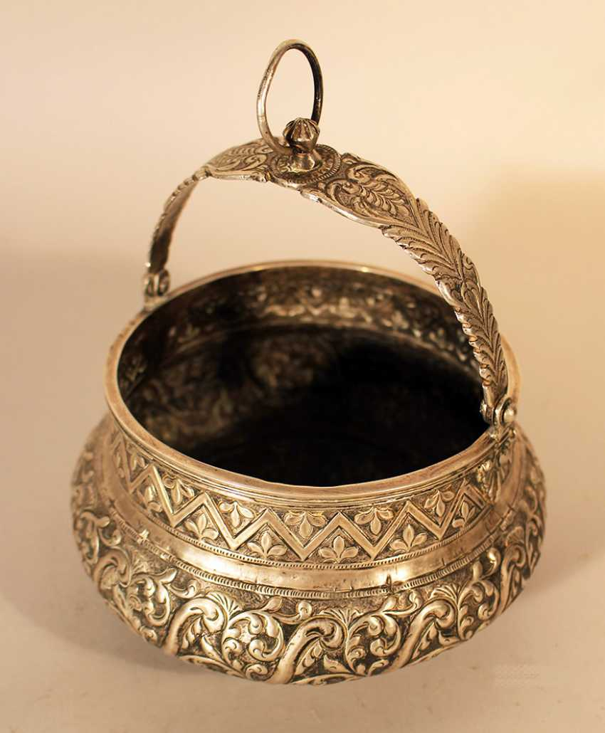 South American silver container, bowed shape and thin neck - photo 2