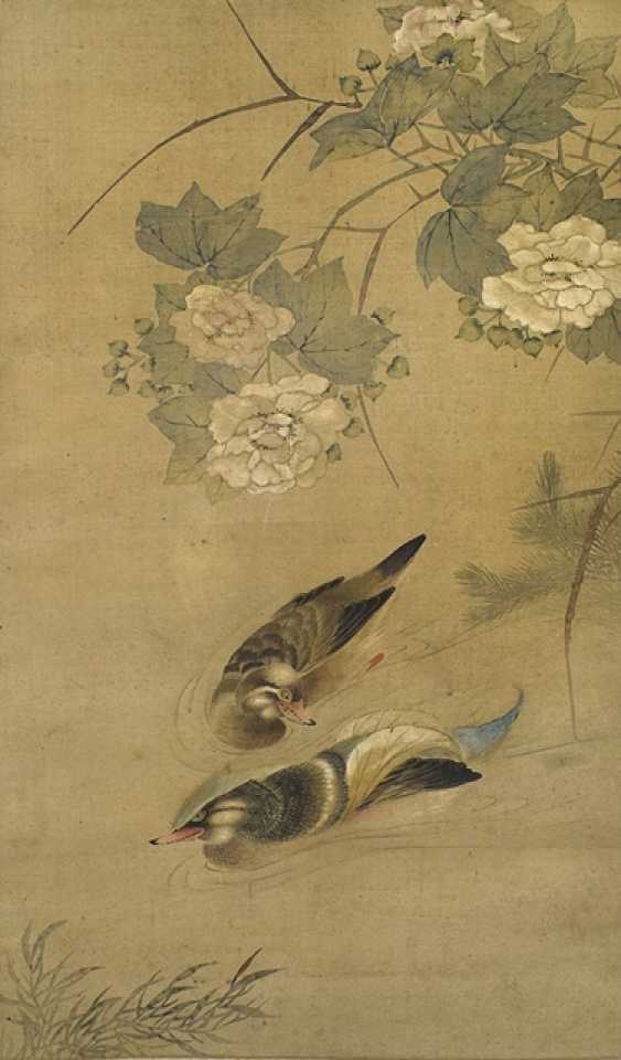 Anonymous painting of duck pair on silk as a hanging scroll mounted - photo 1
