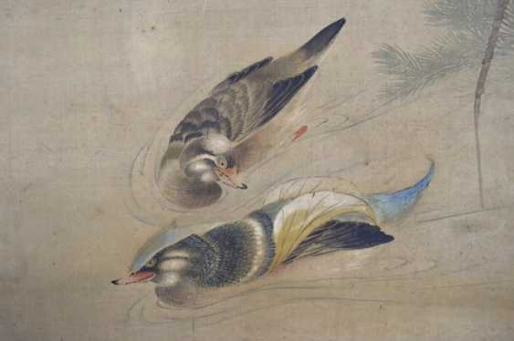 Anonymous painting of duck pair on silk as a hanging scroll mounted - photo 2