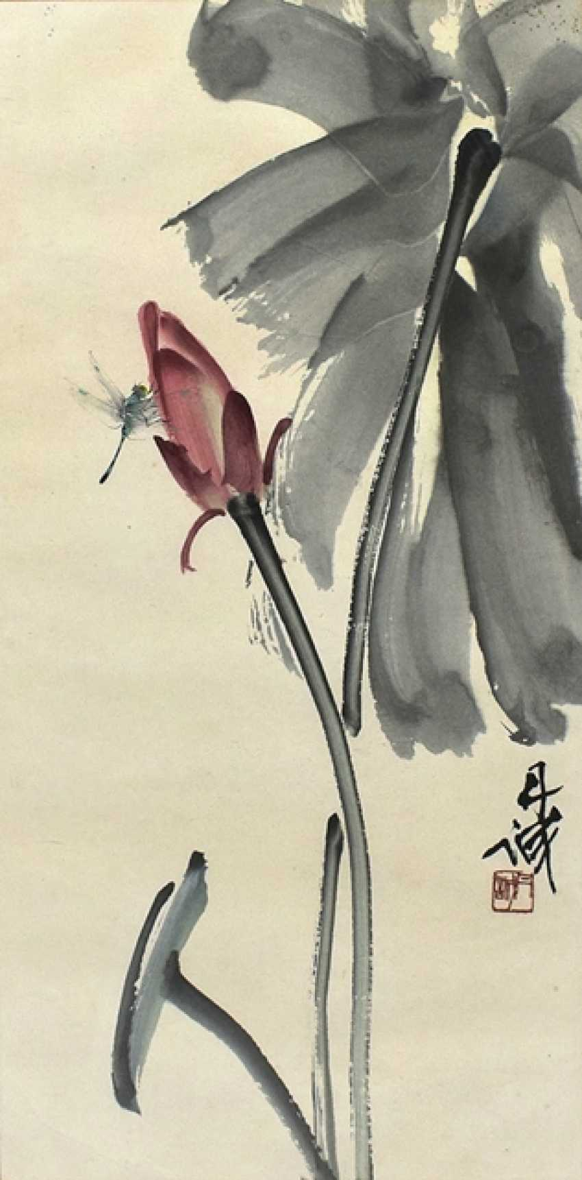 Chen Dancheng (1919-2009) - dragonfly on a Lotus Bud - photo 1