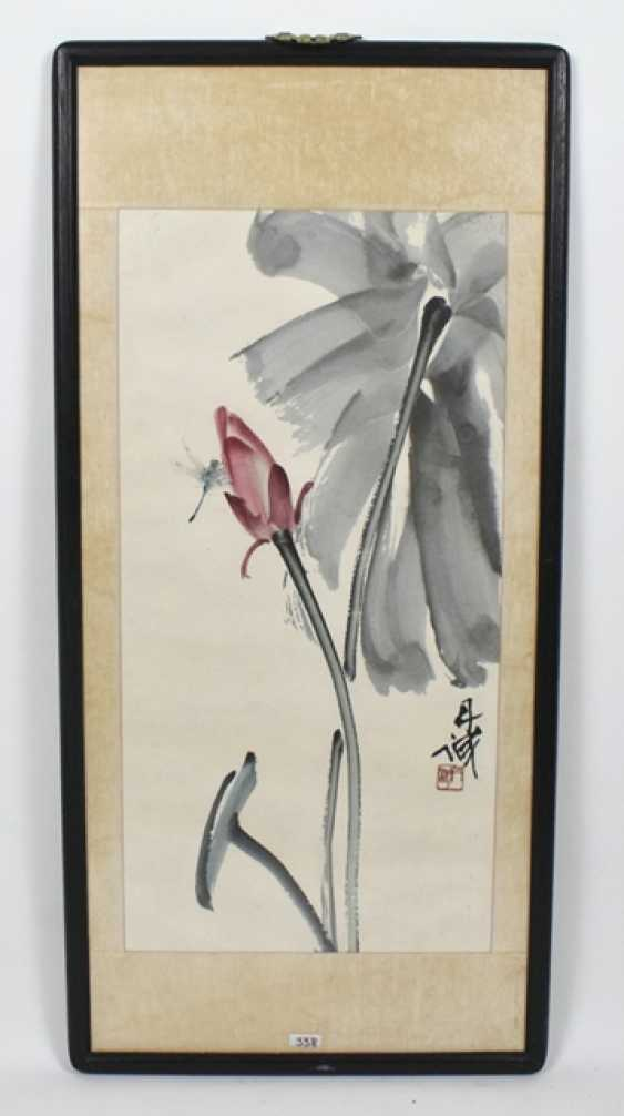 Chen Dancheng (1919-2009) - dragonfly on a Lotus Bud - photo 2