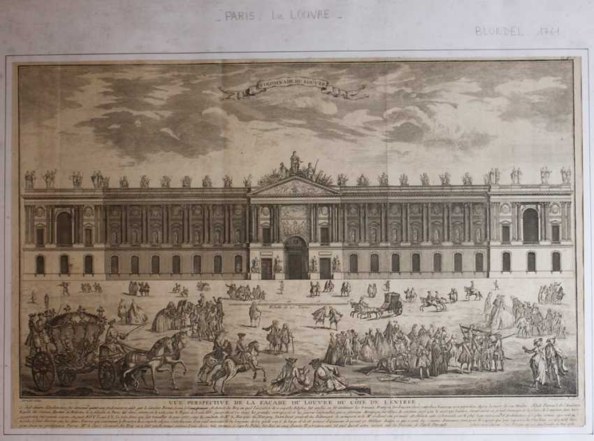 Colomnade du Louvre, copper print after the design by Claude Perrault (1613–1688) with descrption - photo 2