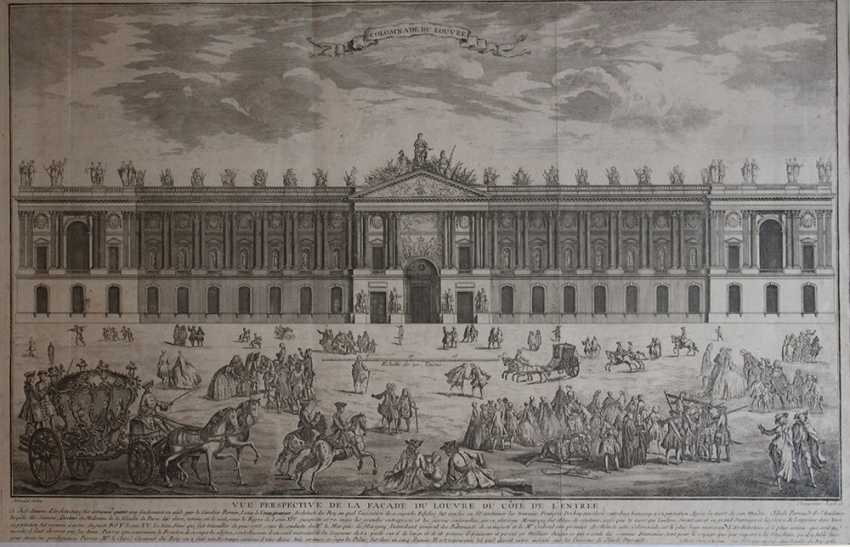 Colomnade du Louvre, copper print after the design by Claude Perrault (1613–1688) with descrption - photo 3