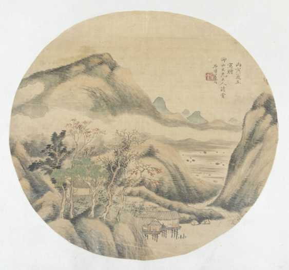 Two round fan paintings of Magu and of a landscape - photo 2