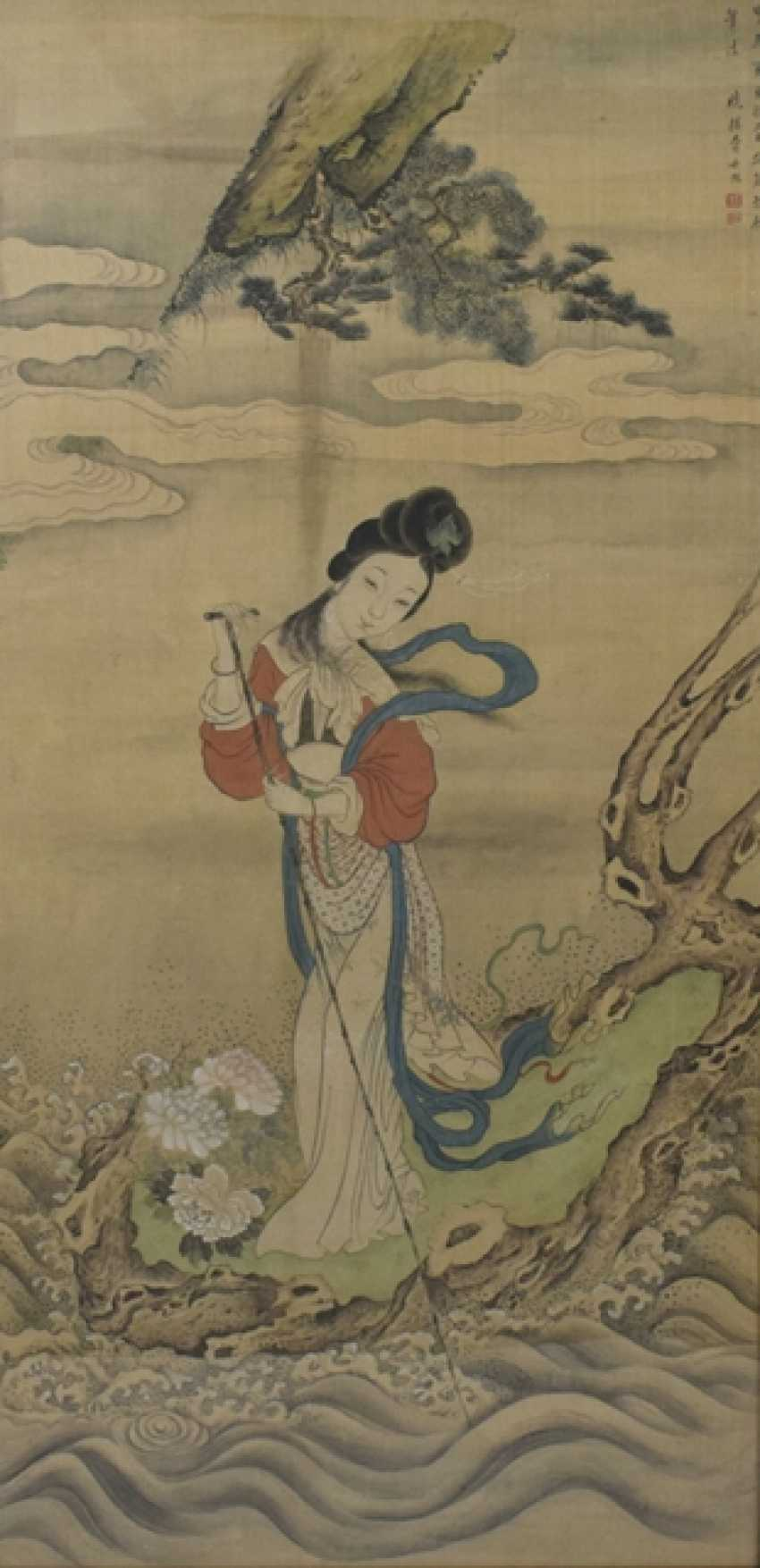 Painting of a Palace lady on the Bank of the river - photo 1