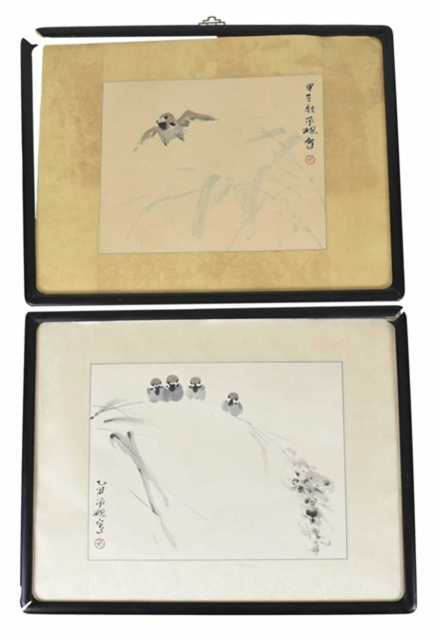 Two of the 'xieyi'compositions with illustrations of birds - photo 1