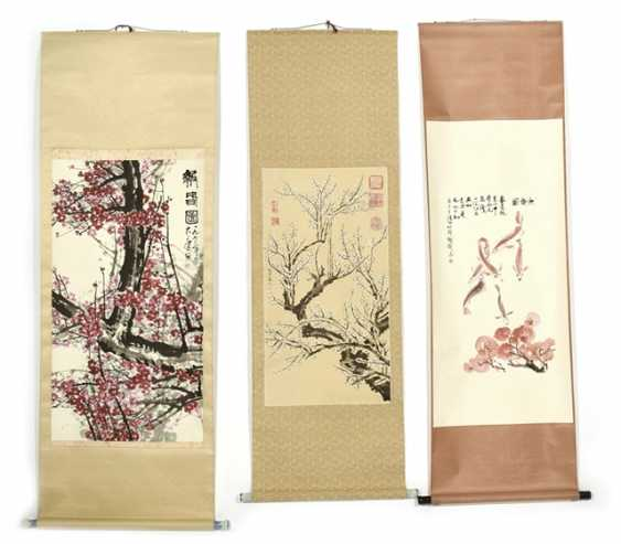 Three hanging rolls with plum/cherry-blossoms - and fish-representations - photo 1