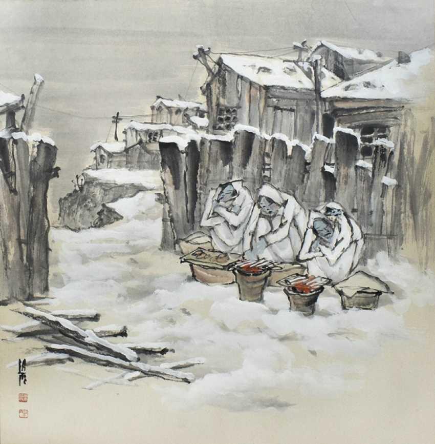 Li Xiyu street sellers in Winter, under glass, framed, ink on paper - photo 1
