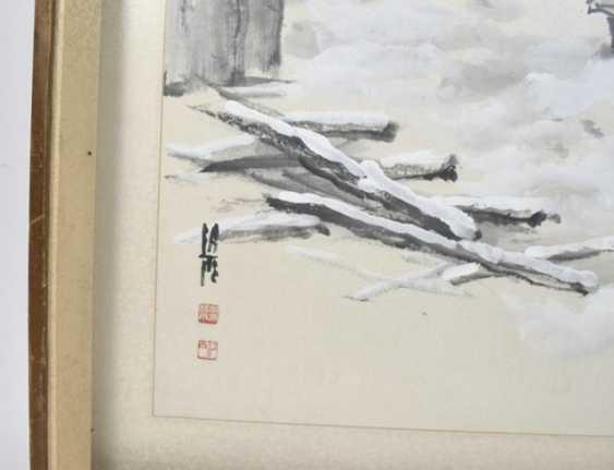 Li Xiyu street sellers in Winter, under glass, framed, ink on paper - photo 2