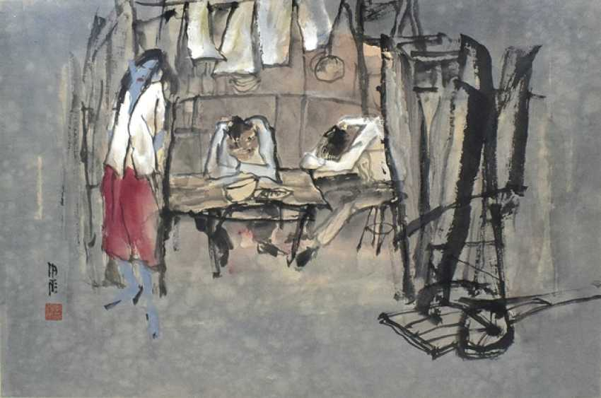 Li Xiyu - people in the rest house, ink and colors on paper - photo 1