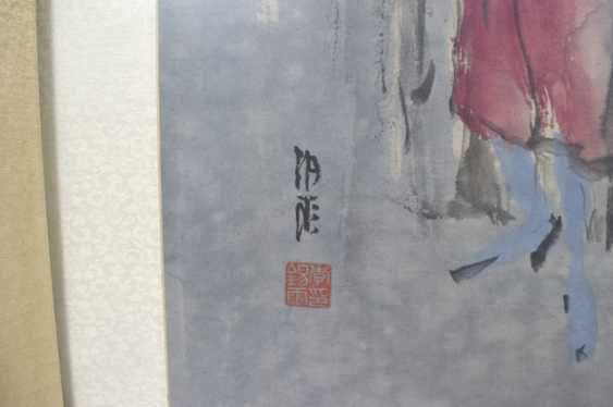 Li Xiyu - people in the rest house, ink and colors on paper - photo 2