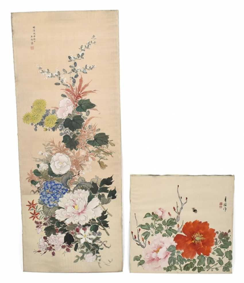 Two unmounted flowers paintings - photo 1