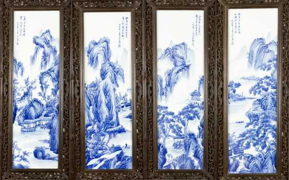 Four Chinese porcelain plaques with painted river landscapes in blue colour on white ground, glazed, on top Chinese script signs and artist's stamp - photo 1