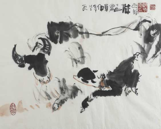 Three paintings with landscape scenes and a cow with calf - photo 4