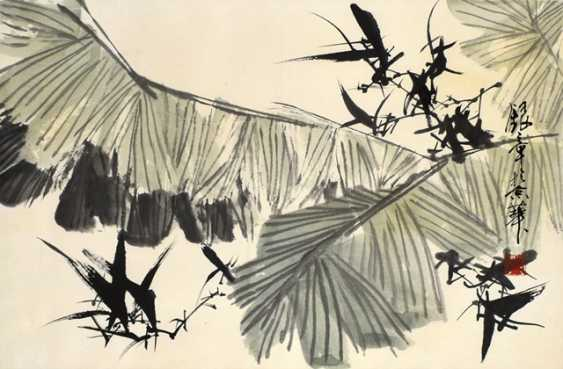 Name Yinzhang: banana leaves, ink and colors on paper - photo 1