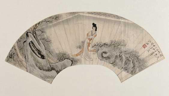 Wang Fang, fan image, under glass, framed - photo 1