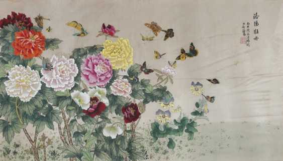 Peonies and butterflies, ink and colors on silk, under glass, framed - photo 1