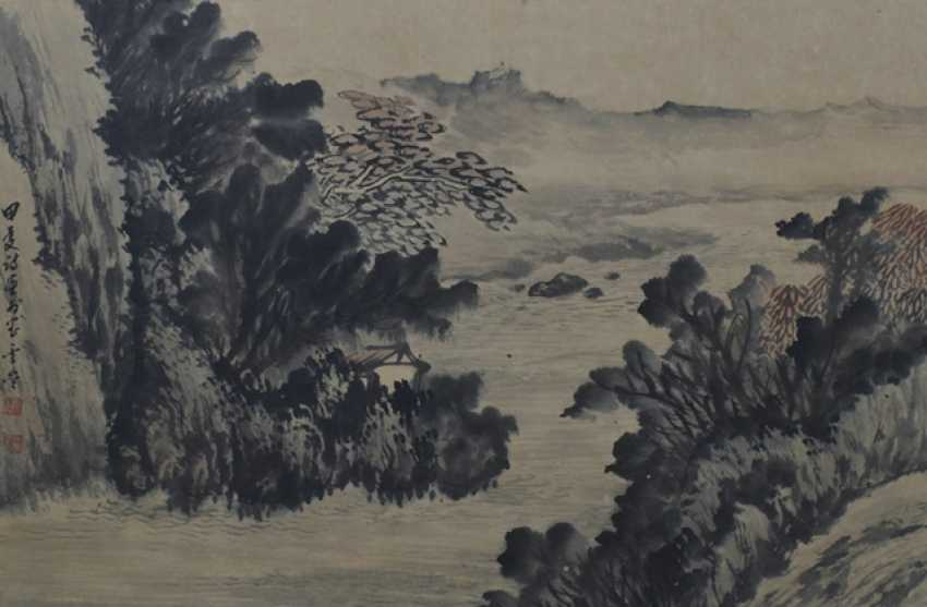 Wang Junyi: The East peak of Hua mountain, ink and colors on paper - photo 1