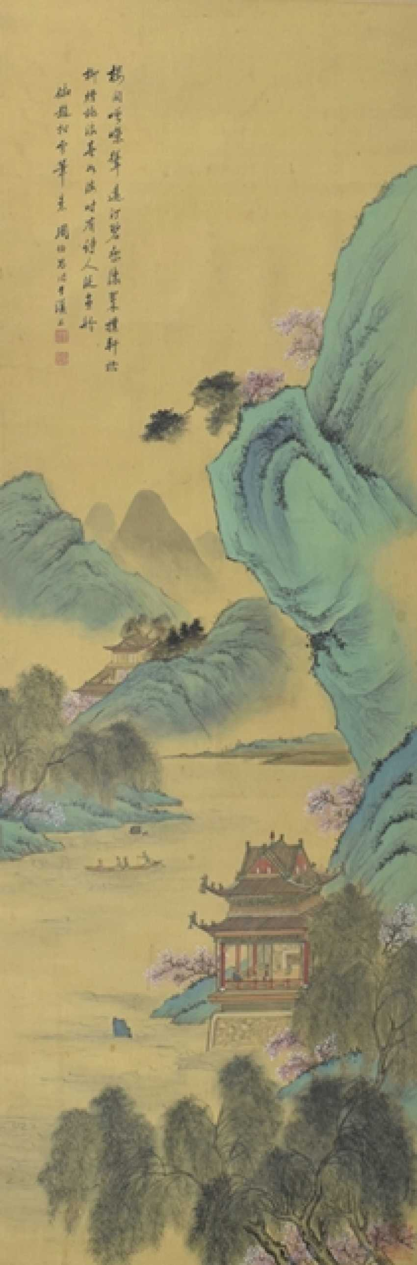 Painting of a pavilion on the river - photo 1