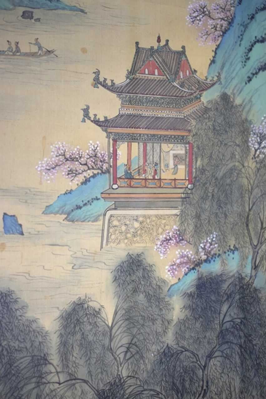 Painting of a pavilion on the river - photo 3