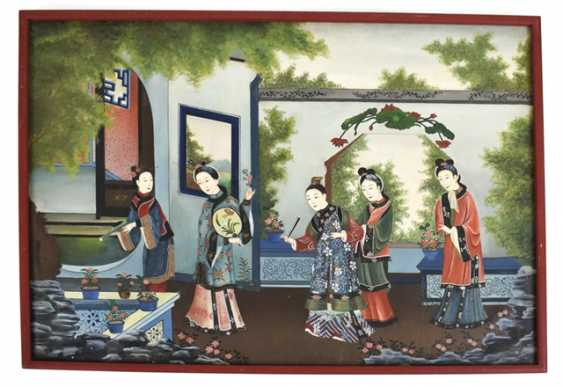 Framed painting of a women's group in the garden - photo 1