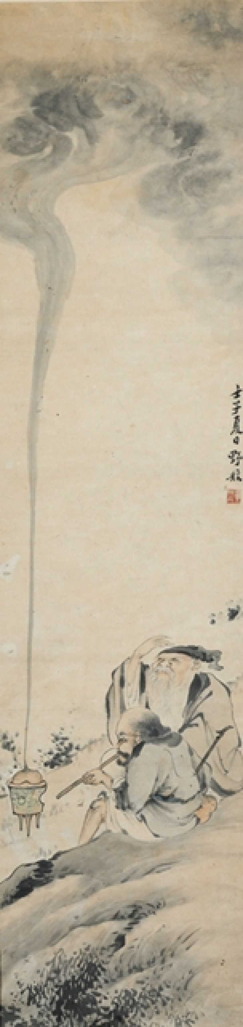 In the style of Ye slope (1816-1884), Taoists, ink and colors on paper, under glass - photo 1